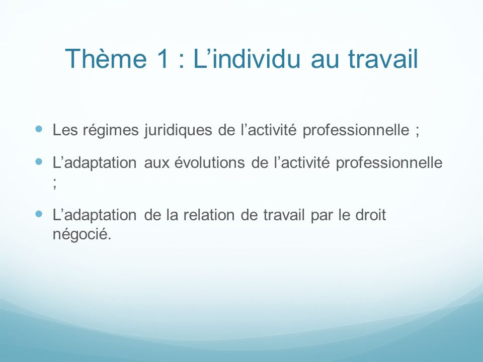 Thème 1 : Lindividu au travail Les régimes juridiques de lactivité professionnelle ; Ladaptation aux évolutions de lactivité professionnelle ; Ladapta