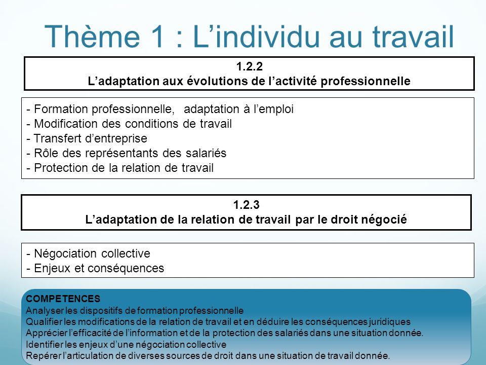 Thème 1 : Lindividu au travail 1.2.2 Ladaptation aux évolutions de lactivité professionnelle - Formation professionnelle, adaptation à lemploi - Modif
