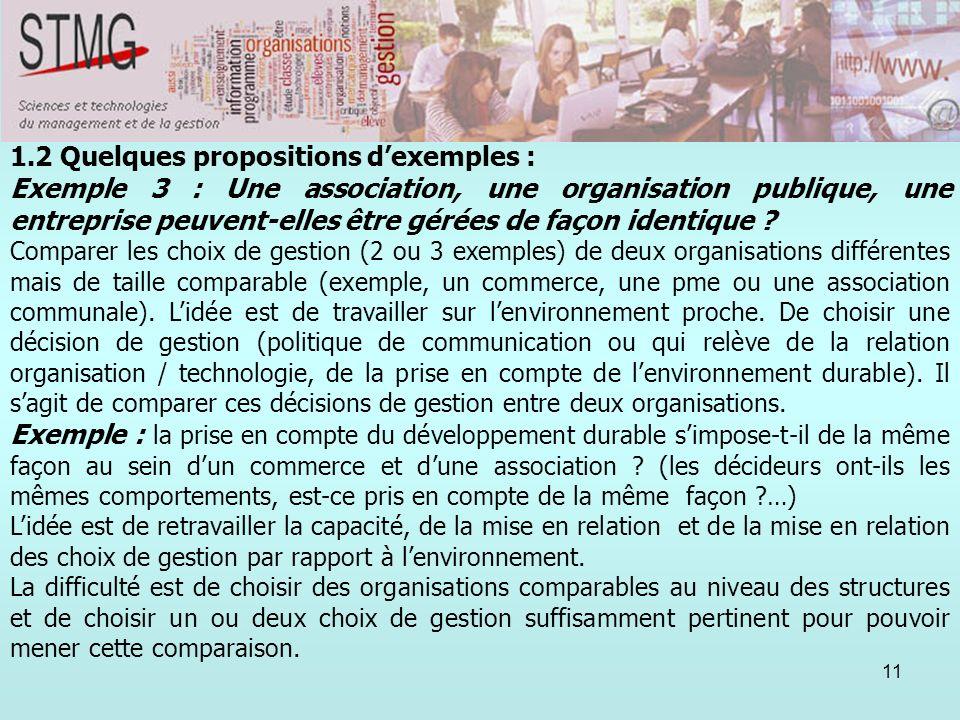 11 1.2 Quelques propositions dexemples : Exemple 3 : Une association, une organisation publique, une entreprise peuvent-elles être gérées de façon ide