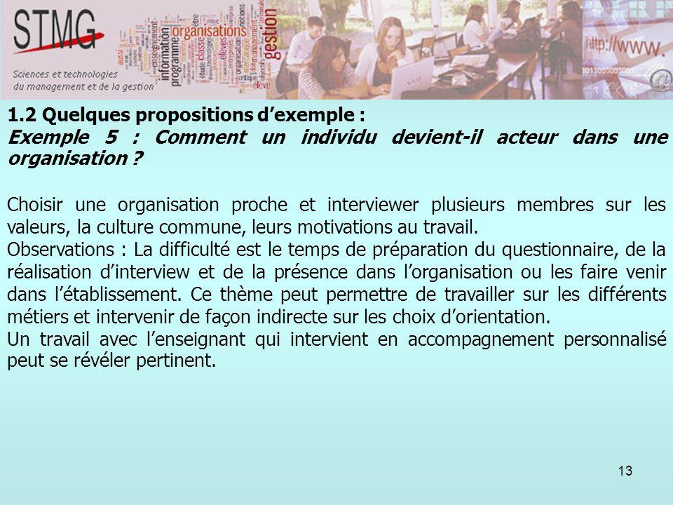 13 1.2 Quelques propositions dexemple : Exemple 5 : Comment un individu devient-il acteur dans une organisation ? Choisir une organisation proche et i