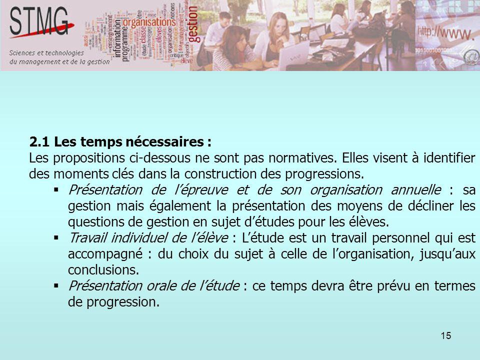 15 2. Lorganisation annuelle : propositions pour une mise en place. 2.1 Les temps nécessaires : Les propositions ci-dessous ne sont pas normatives. El