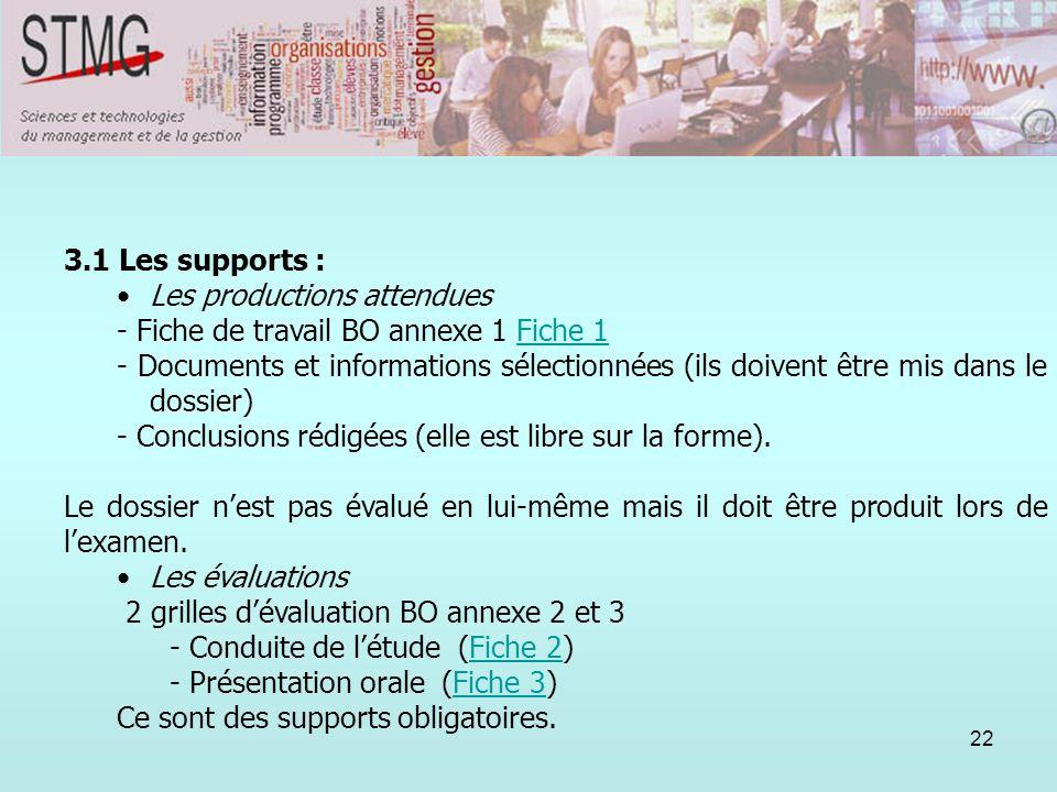 22 3. Lorganisation du suivi : 3.1 Les supports : Les productions attendues - Fiche de travail BO annexe 1 Fiche 1Fiche 1 - Documents et informations