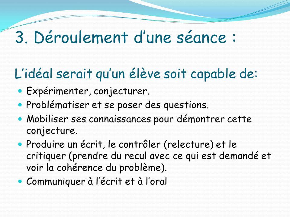 3. Déroulement dune séance : Lidéal serait quun élève soit capable de: Expérimenter, conjecturer. Problématiser et se poser des questions. Mobiliser s
