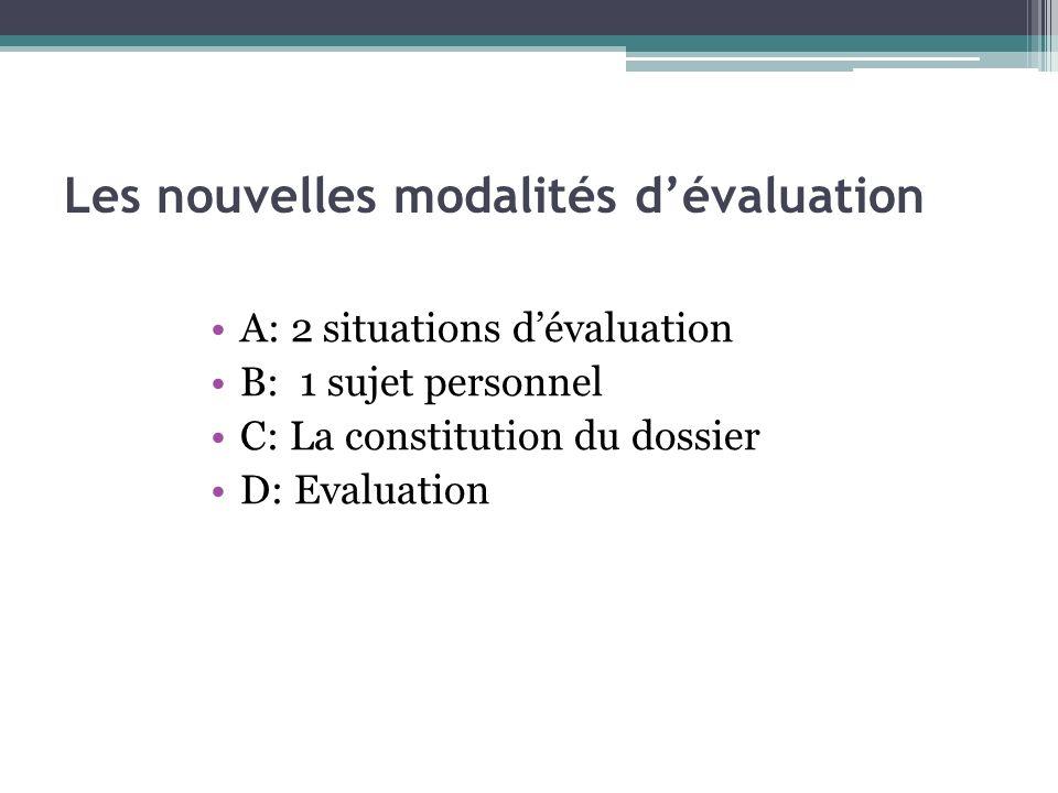 Les nouvelles modalités dévaluation A: 2 situations dévaluation B: 1 sujet personnel C: La constitution du dossier D: Evaluation