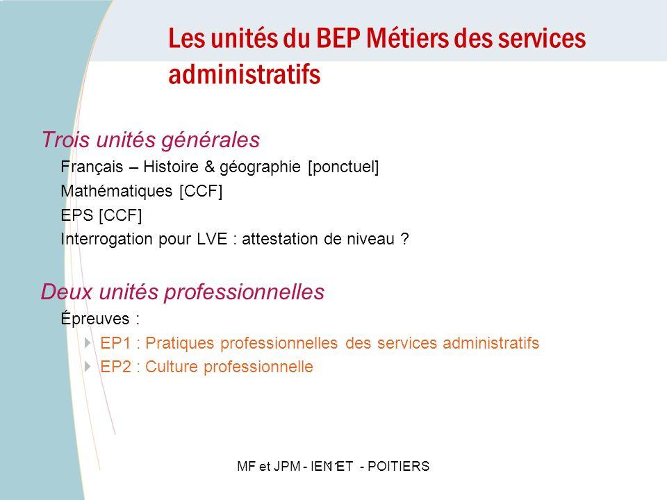 Les unités du BEP Métiers des services administratifs 11 Trois unités générales Français – Histoire & géographie [ponctuel] Mathématiques [CCF] EPS [C