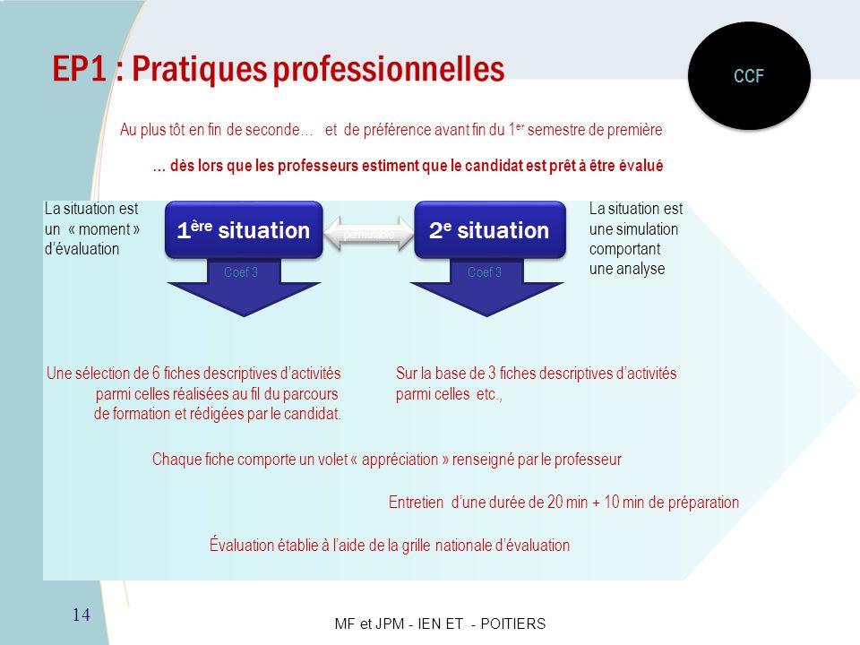 14 EP1 : Pratiques professionnelles Au plus tôt en fin de seconde…et de préférence avant fin du 1 er semestre de première CCF permutable Une sélection