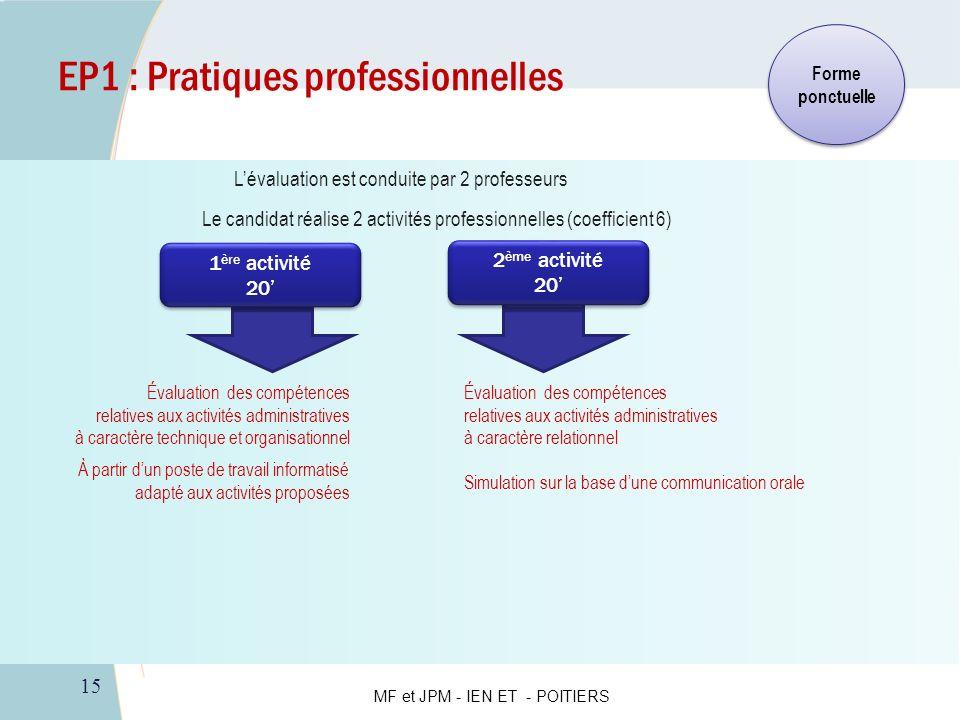 15 EP1 : Pratiques professionnelles Évaluation des compétences relatives aux activités administratives à caractère technique et organisationnel Évalua