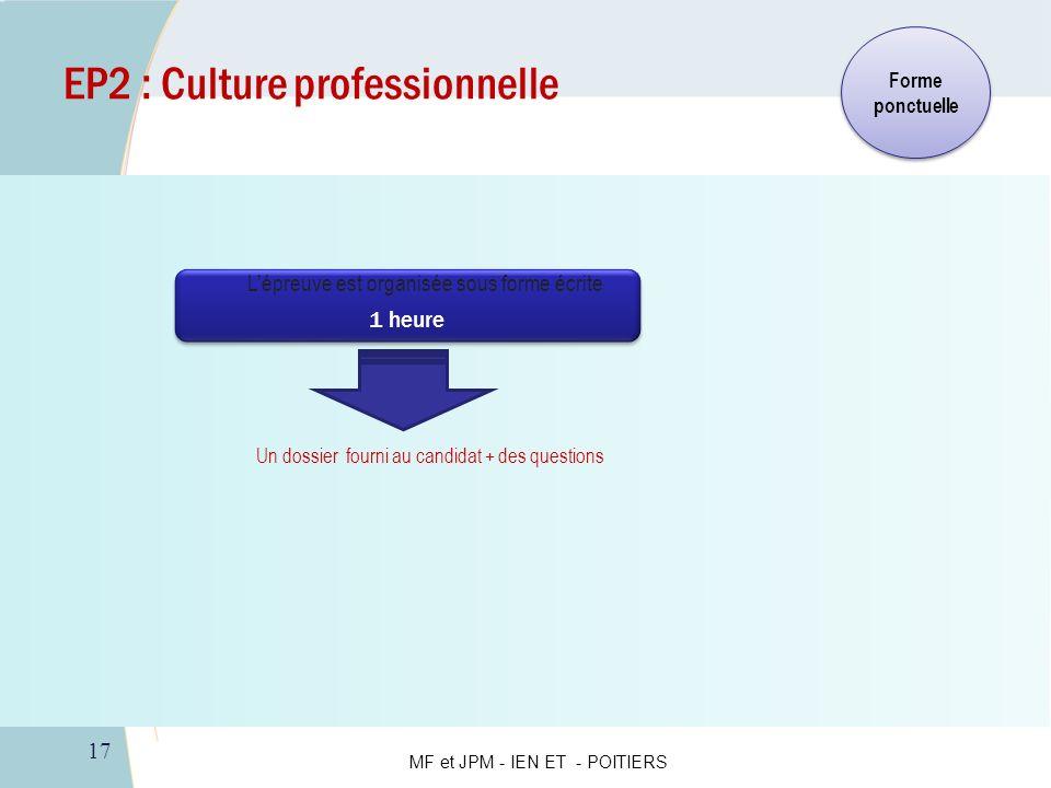 17 EP2 : Culture professionnelle Un dossier fourni au candidat + des questions 1 heure 1 heure Forme ponctuelle Lépreuve est organisée sous forme écri
