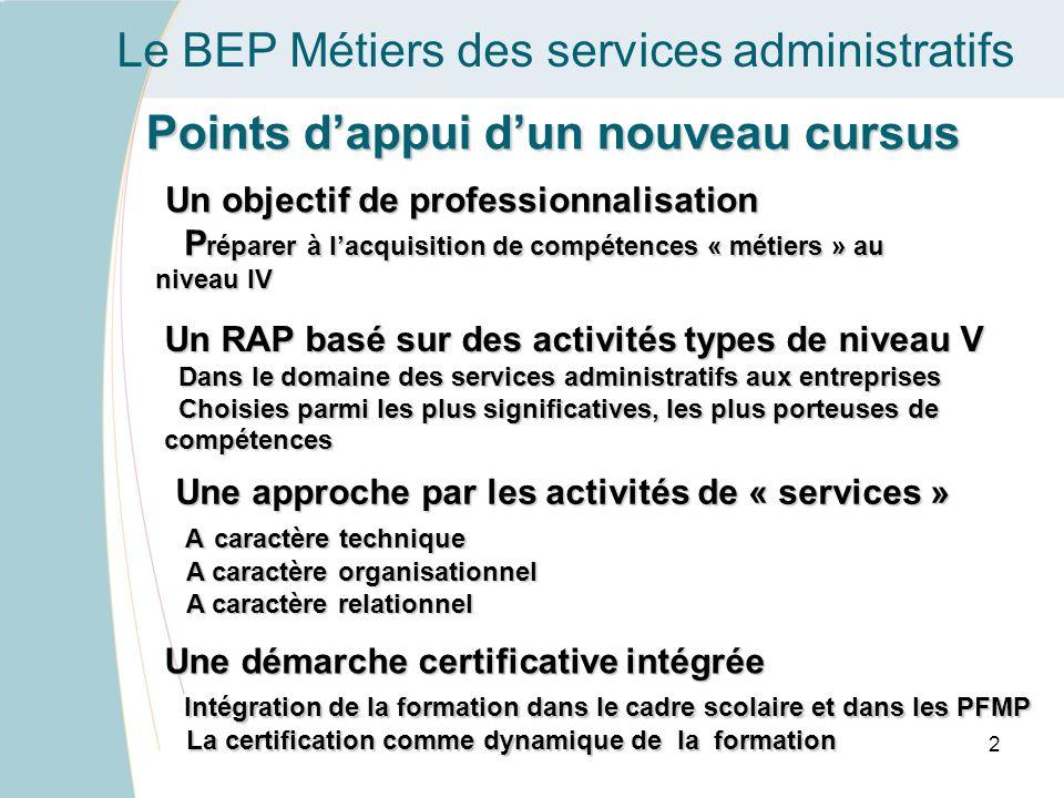 Le BEP Métiers des services administratifs Points dappui dun nouveau cursus Une démarche certificative intégrée Intégration de la formation dans le ca