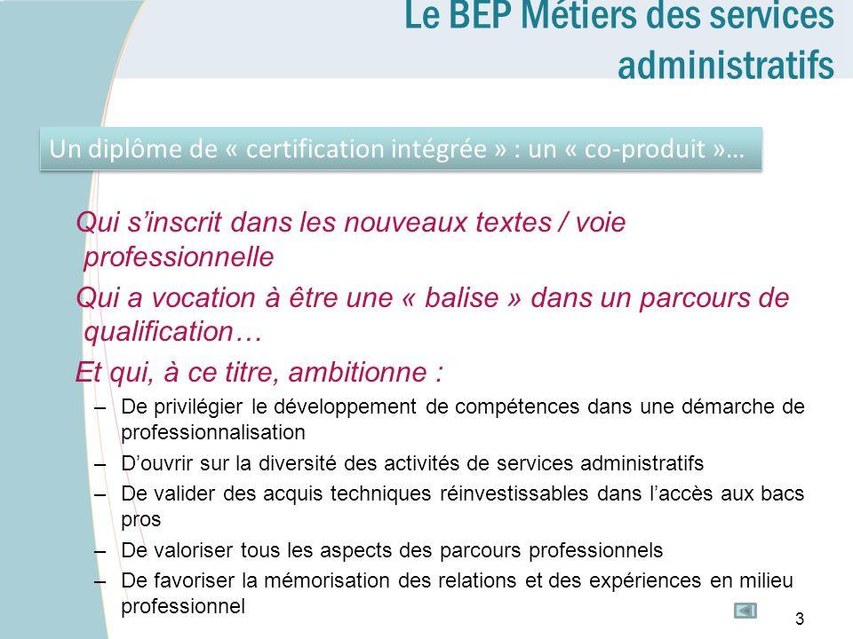 Le BEP Métiers des services administratifs Qui sinscrit dans les nouveaux textes / voie professionnelle Qui a vocation à être une « balise » dans un p