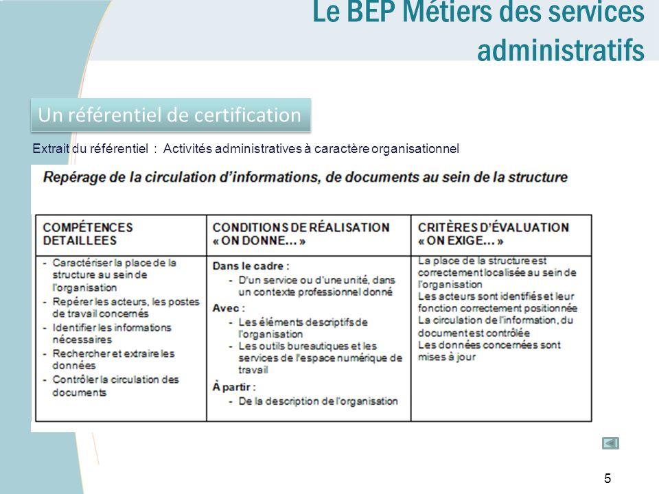 Le BEP Métiers des services administratifs Un référentiel de certification 5 Extrait du référentiel : Activités administratives à caractère organisati