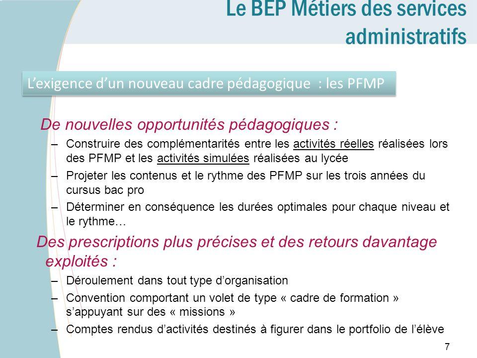Le BEP Métiers des services administratifs De nouvelles opportunités pédagogiques : –Construire des complémentarités entre les activités réelles réali
