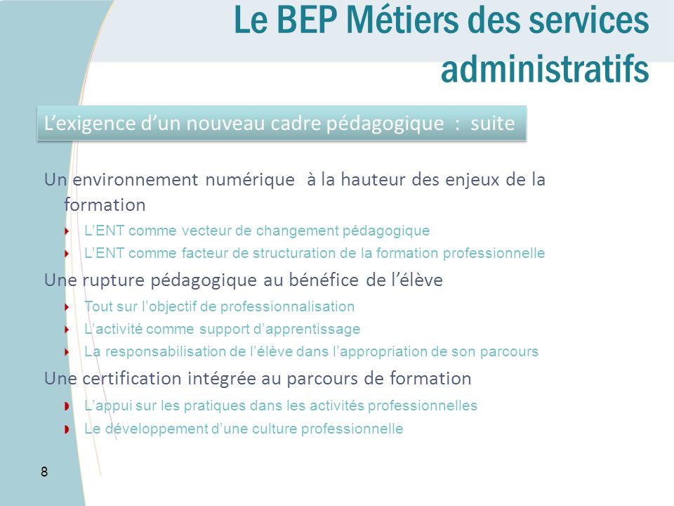 Le BEP Métiers des services administratifs 8 Lexigence dun nouveau cadre pédagogique : suite Un environnement numérique à la hauteur des enjeux de la