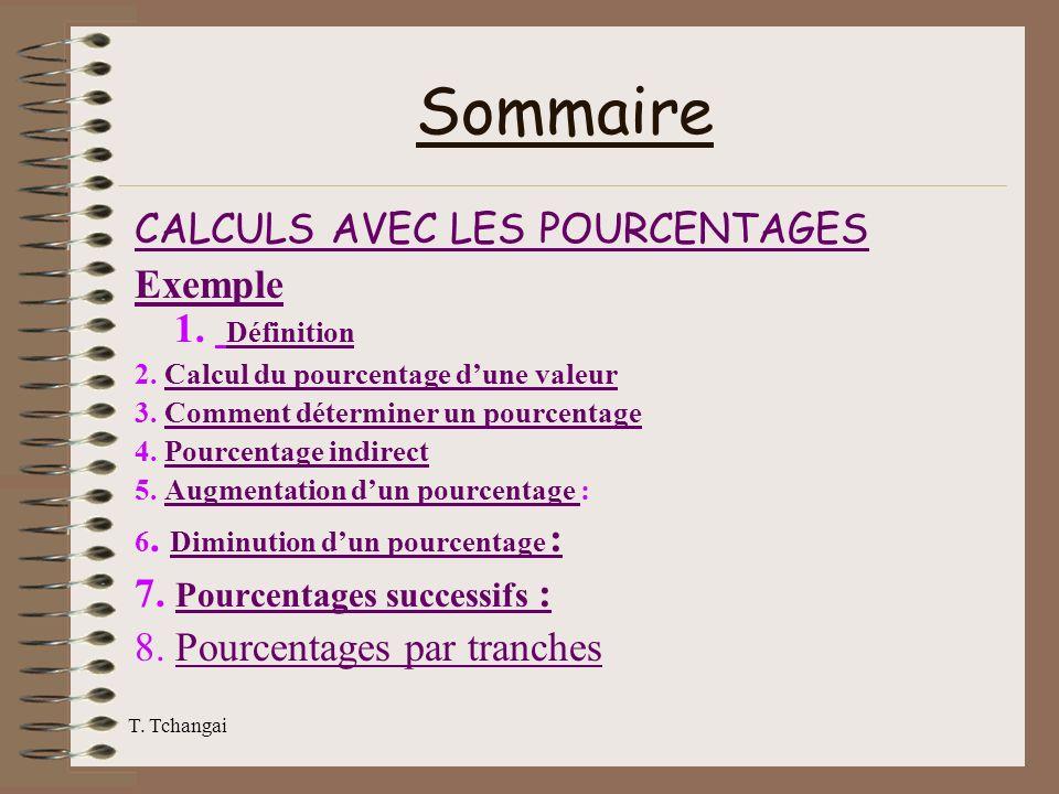 T. Tchangai Sommaire CALCULS AVEC LES POURCENTAGES Exemple Exemple 1. Définition Définition 2. Calcul du pourcentage dune valeurCalcul du pourcentage