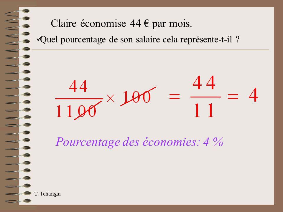 T. Tchangai Claire économise 44 par mois. Quel pourcentage de son salaire cela représente-t-il ? Pourcentage des économies: 4 %