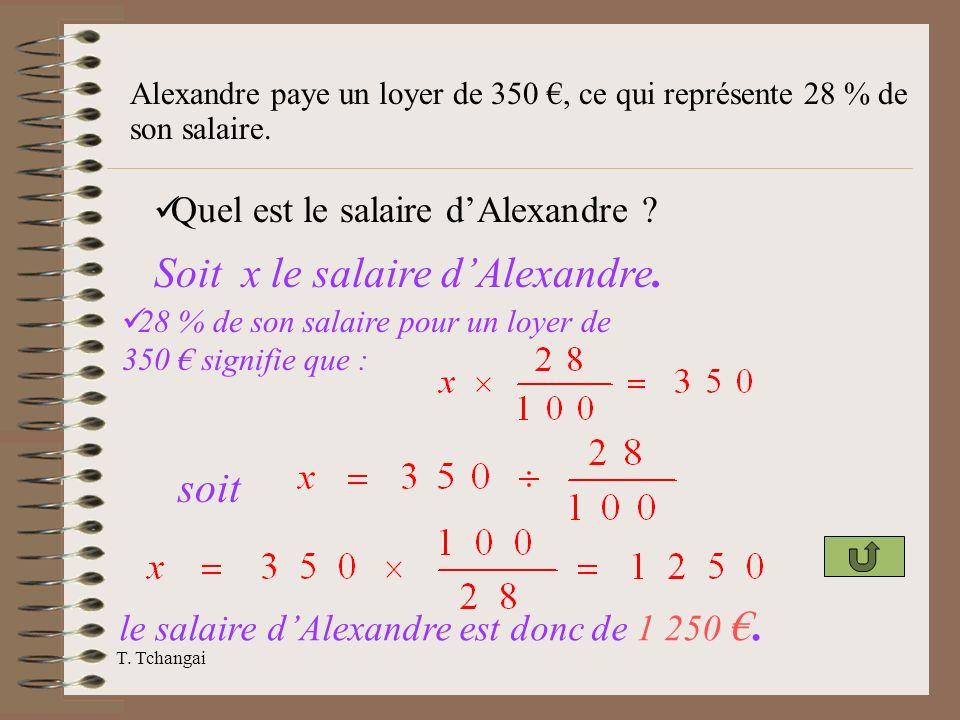 T. Tchangai Alexandre paye un loyer de 350, ce qui représente 28 % de son salaire. Quel est le salaire dAlexandre ? Soit x le salaire dAlexandre. 28 %