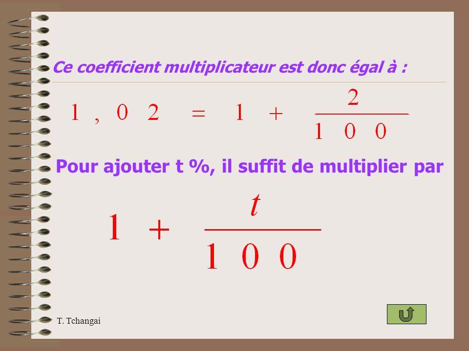 T. Tchangai Ce coefficient multiplicateur est donc égal à : Pour ajouter t %, il suffit de multiplier par
