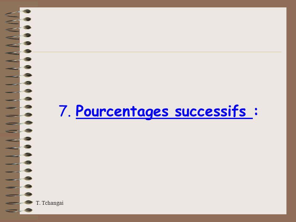 T. Tchangai 7. Pourcentages successifs :