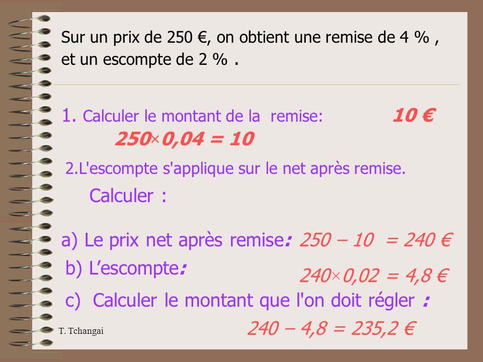 T. Tchangai Sur un prix de 250, on obtient une remise de 4 %, et un escompte de 2 %. 1. Calculer le montant de la remise: 250×0,04 = 10 10 2.L'escompt