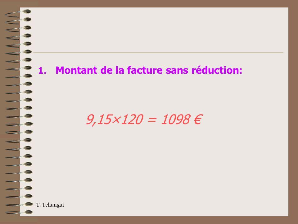 T. Tchangai 1. Montant de la facture sans réduction: 9,15×120 = 1098