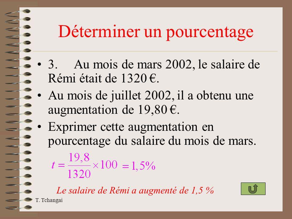 T. Tchangai Déterminer un pourcentage 3. Au mois de mars 2002, le salaire de Rémi était de 1320. Au mois de juillet 2002, il a obtenu une augmentation