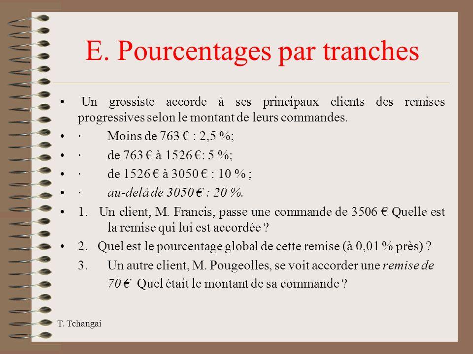 T. Tchangai E. Pourcentages par tranches Un grossiste accorde à ses principaux clients des remises progressives selon le montant de leurs commandes. ·