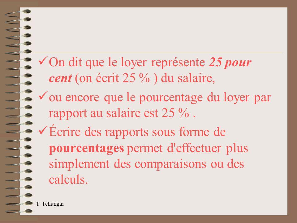 T. Tchangai On dit que le loyer représente 25 pour cent (on écrit 25 % ) du salaire, ou encore que le pourcentage du loyer par rapport au salaire est