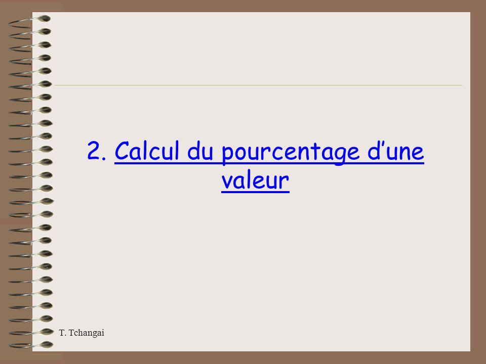 T. Tchangai 2. Calcul du pourcentage dune valeur
