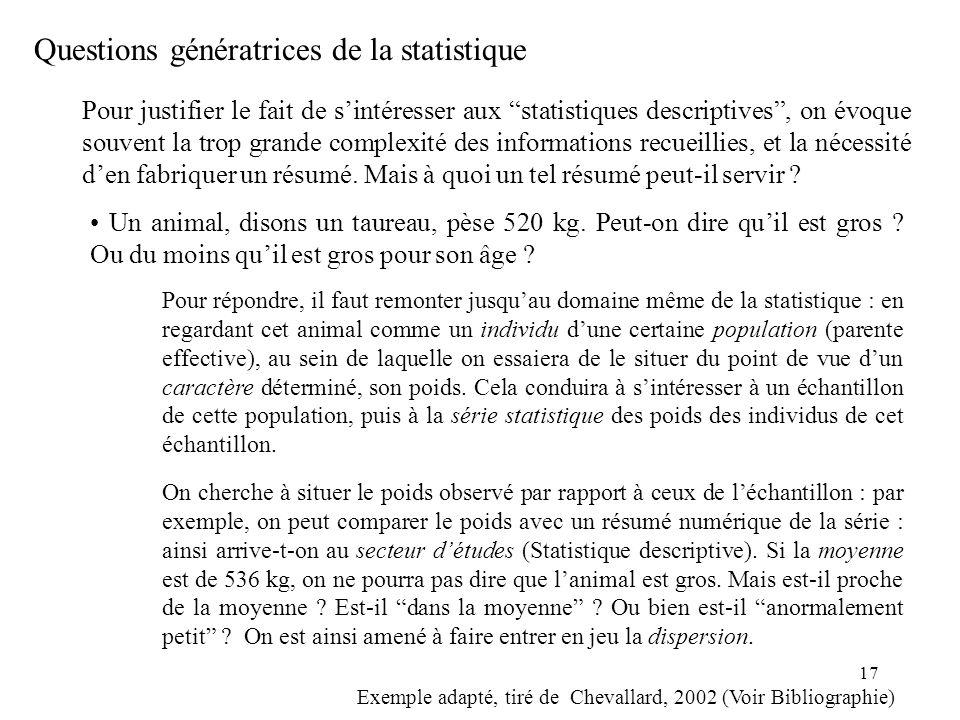 17 Pour justifier le fait de sintéresser aux statistiques descriptives, on évoque souvent la trop grande complexité des informations recueillies, et l