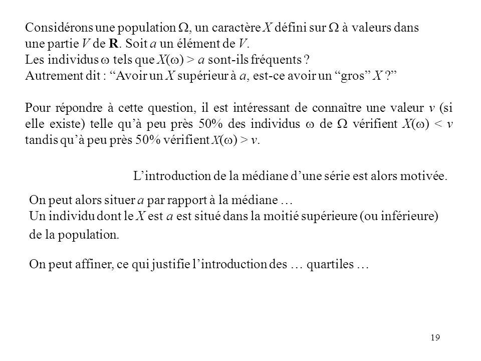 19 Pour répondre à cette question, il est intéressant de connaître une valeur v (si elle existe) telle quà peu près 50% des individus de vérifient X(