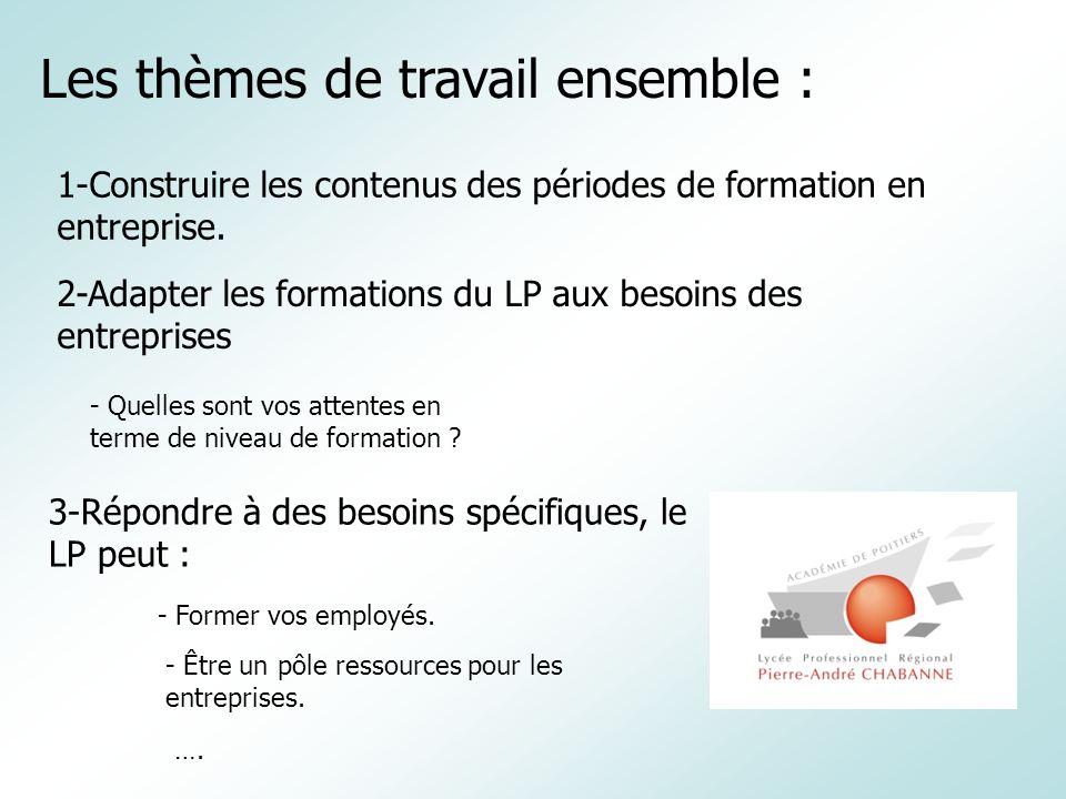 Les thèmes de travail ensemble : 1-Construire les contenus des périodes de formation en entreprise. 2-Adapter les formations du LP aux besoins des ent