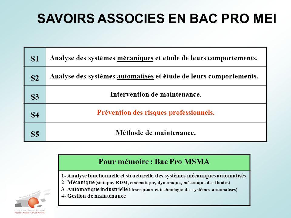 SAVOIRS ASSOCIES EN BAC PRO MEI S1 S2 S3 S4 S5 Analyse des systèmes mécaniques et étude de leurs comportements. Analyse des systèmes automatisés et ét