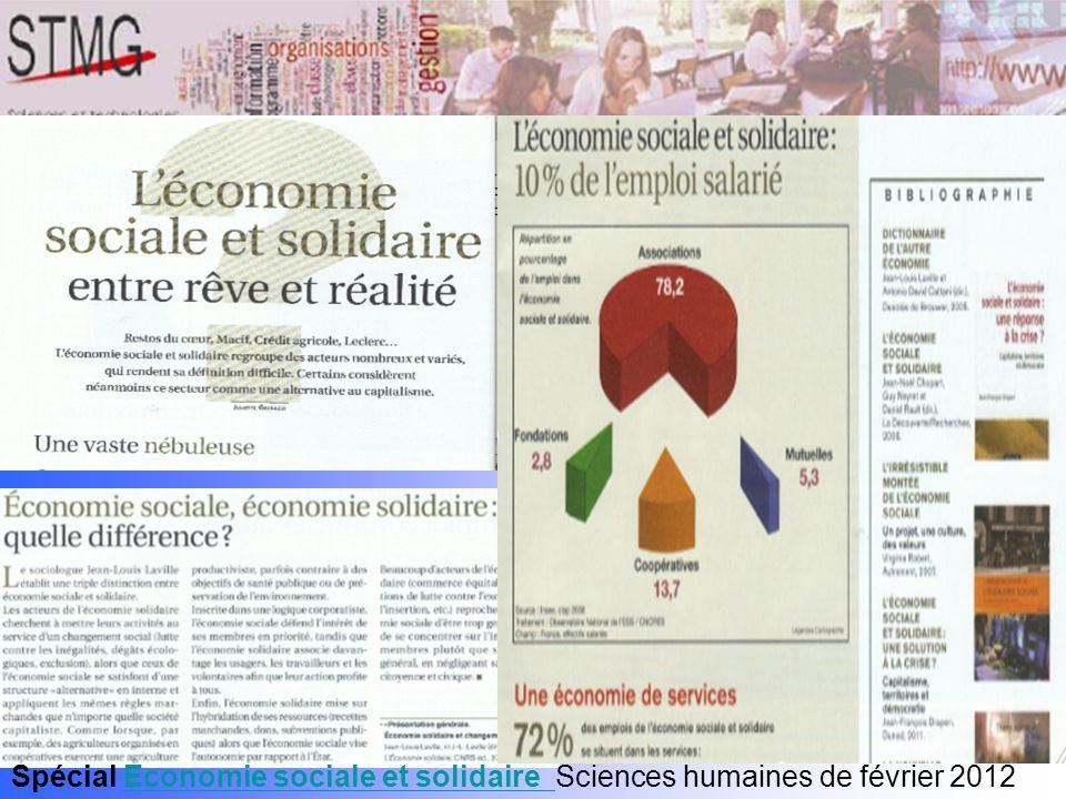 Spécial Economie sociale et solidaire Sciences humaines de février 2012Economie sociale et solidaire