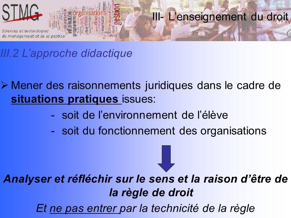 III.2 Lapproche didactique Mener des raisonnements juridiques dans le cadre de situations pratiques issues: -soit de lenvironnement de lélève -soit du