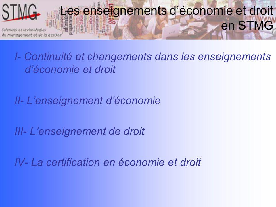 I- Continuité et changements dans les enseignements déconomie et droit II- Lenseignement déconomie III- Lenseignement de droit IV- La certification en