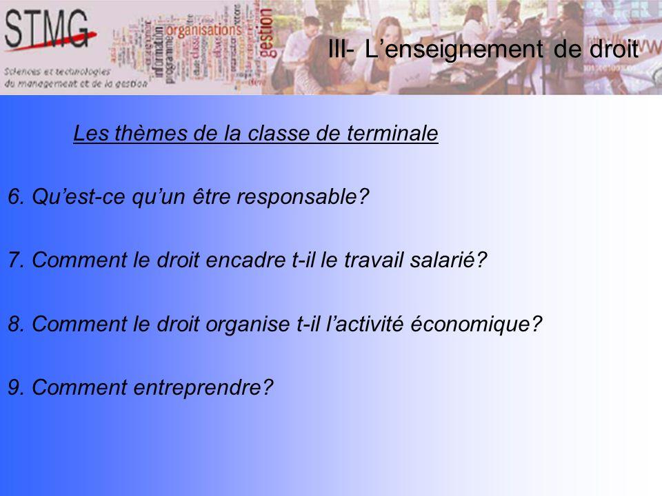 III- Lenseignement de droit Les thèmes de la classe de terminale 6. Quest-ce quun être responsable? 7. Comment le droit encadre t-il le travail salari