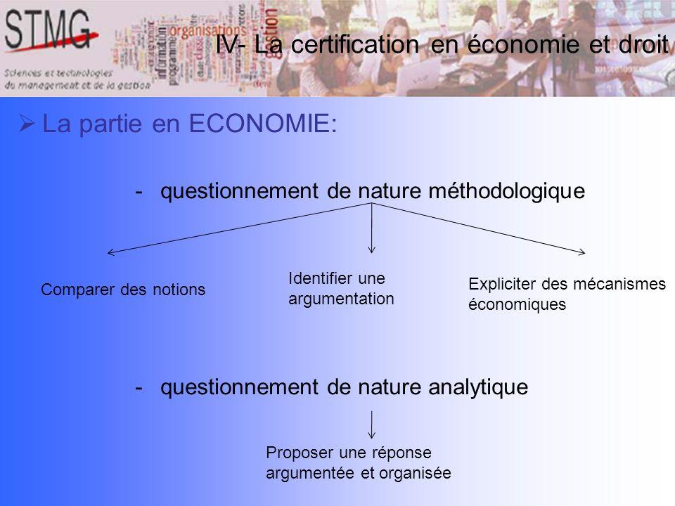 IV- La certification en économie et droit La partie en ECONOMIE: -questionnement de nature méthodologique -questionnement de nature analytique Compare