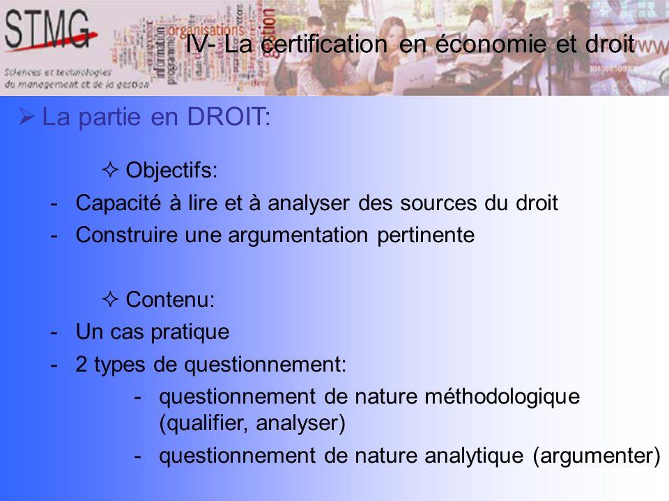 La partie en DROIT: Objectifs: -Capacité à lire et à analyser des sources du droit -Construire une argumentation pertinente Contenu: -Un cas pratique