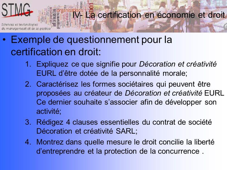 Exemple de questionnement pour la certification en droit: 1.Expliquez ce que signifie pour Décoration et créativité EURL dêtre dotée de la personnalit