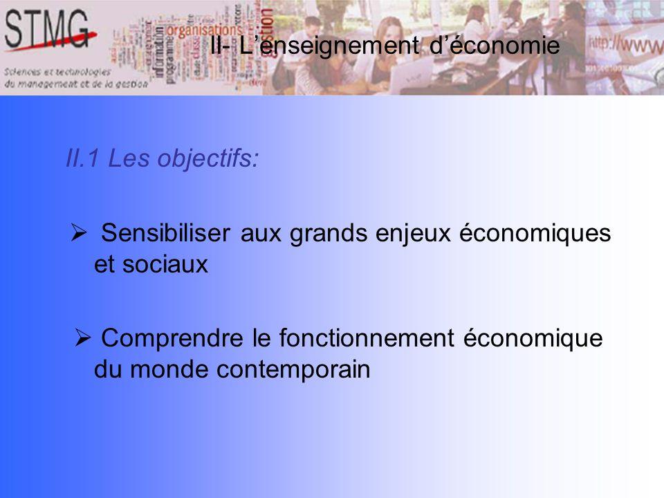 II.1 Les objectifs: Sensibiliser aux grands enjeux économiques et sociaux Comprendre le fonctionnement économique du monde contemporain II- Lenseignem
