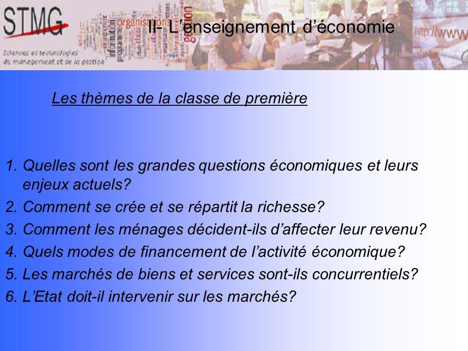 Les thèmes de la classe de première 1.Quelles sont les grandes questions économiques et leurs enjeux actuels? 2.Comment se crée et se répartit la rich
