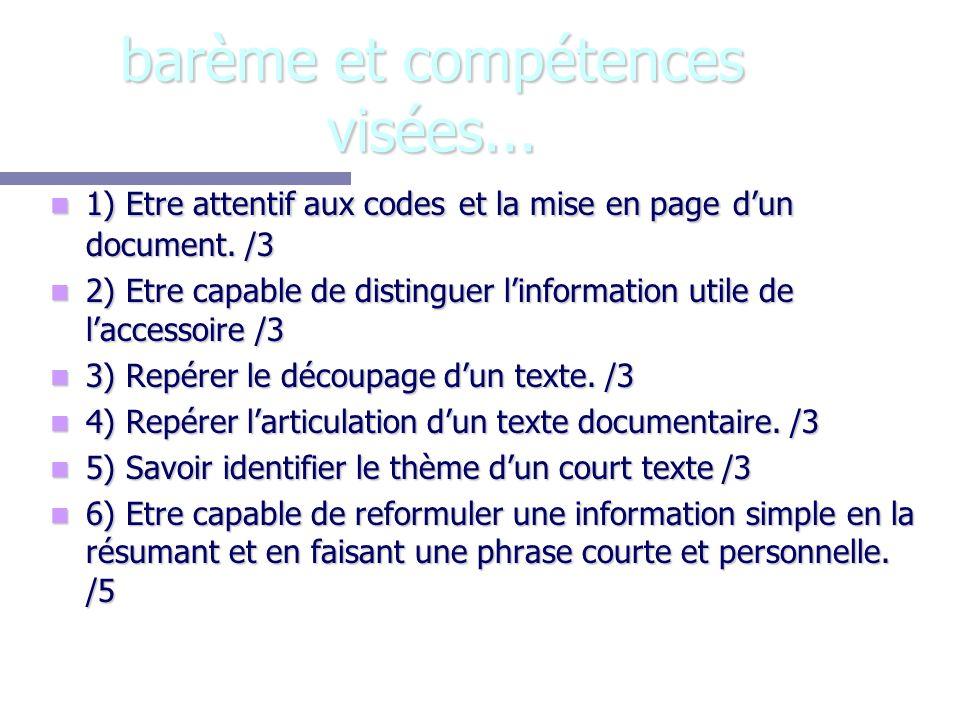 barème et compétences visées...1) Etre attentif aux codes et la mise en page dun document.
