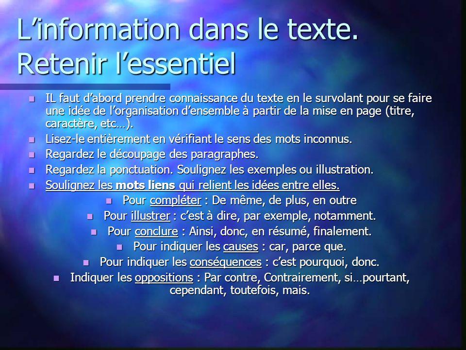 Linformation dans le texte.