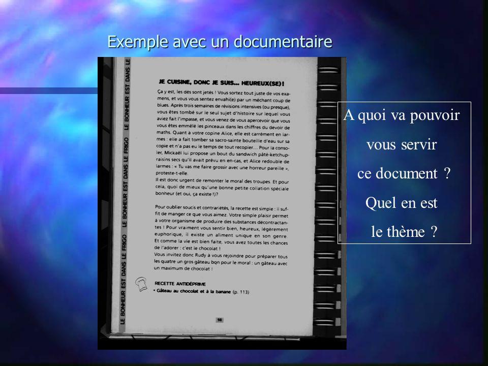 Exemple avec un documentaire A quoi va pouvoir vous servir ce document ? Quel en est le thème ?