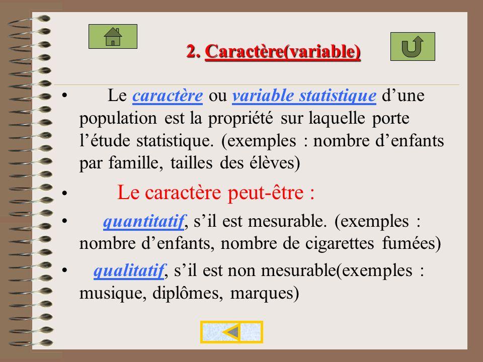 population: ensemble des individus sur lequel porte létude statistique. (exemple : une classe délèves de TH ) Chaque élément de la population étudiée