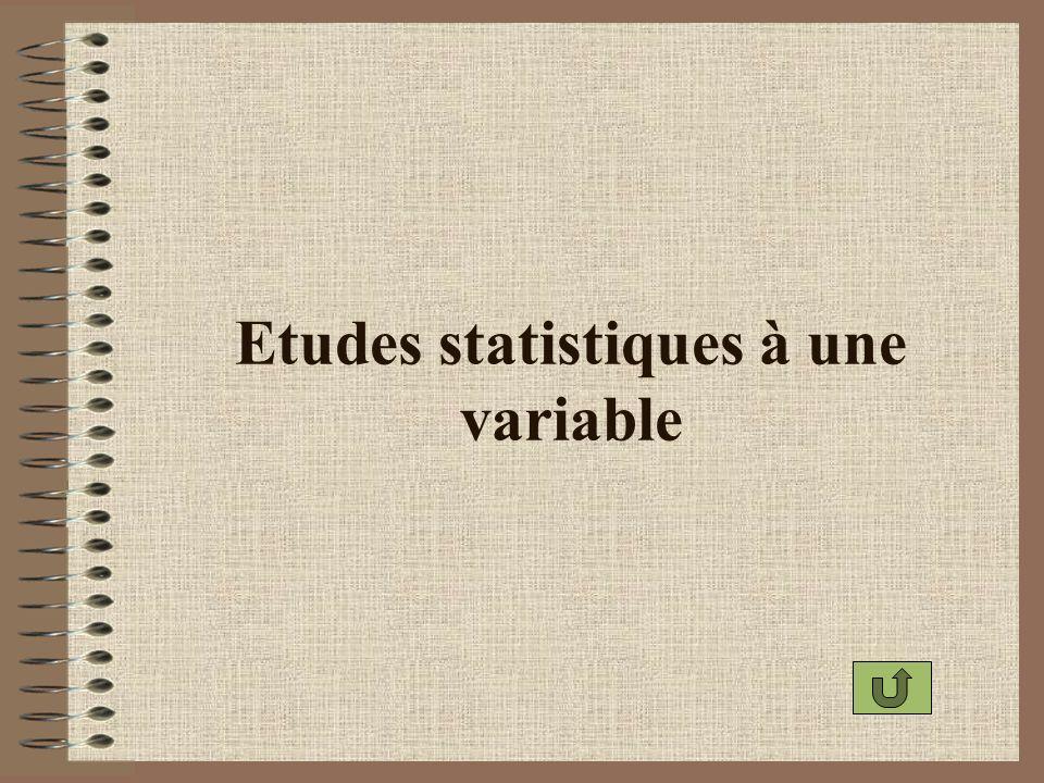 Etendue dune série statistique Létendue dune série statistique est la différence entre la plus grande et la plus petite valeur du caractère.