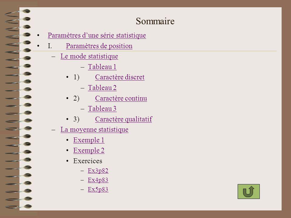 Sommaire –La médiane statistiqueLa médiane statistique Détermination –a.