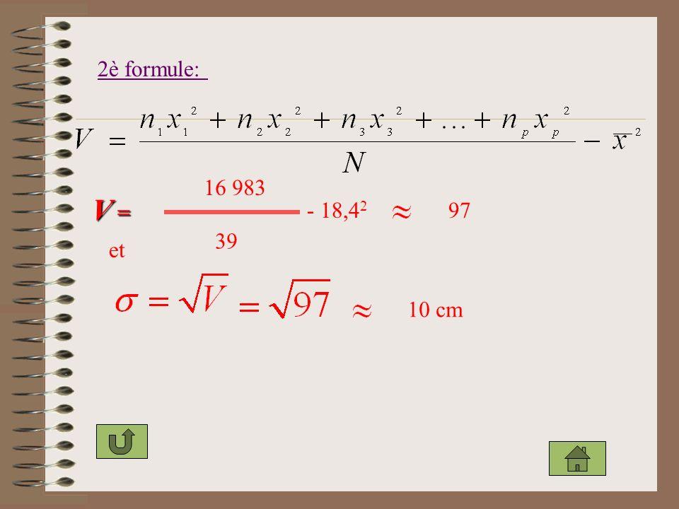 2è formule: V =V =V =V = 16 983 39 - 18,4 2 97 et 10 cm