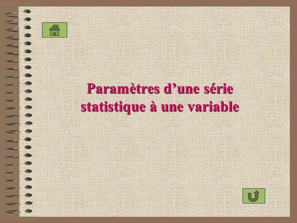 Paramètres dune série statistique à une variable