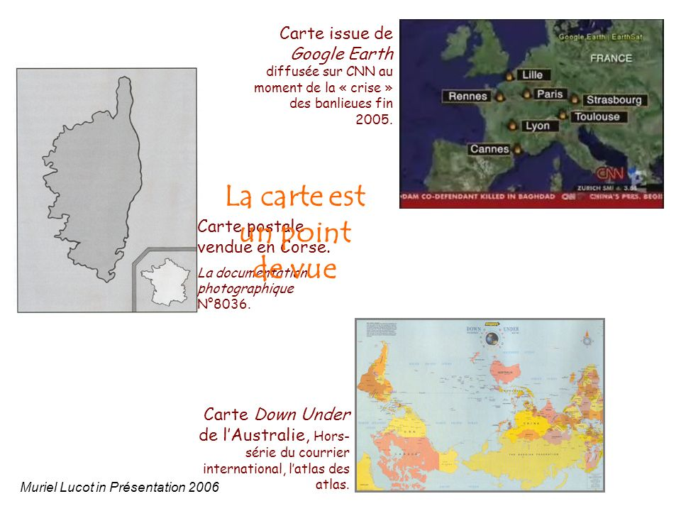 Carte postale vendue en Corse. La documentation photographique N°8036. Carte issue de Google Earth diffusée sur CNN au moment de la « crise » des banl